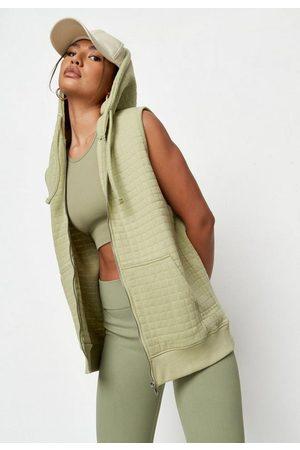 Missguided Women Hoodies - Sage Quilted Zip Through Sleeveless Hoodie