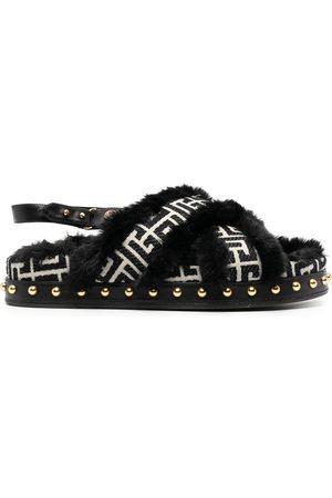 Balmain Crossover strap flat sandals