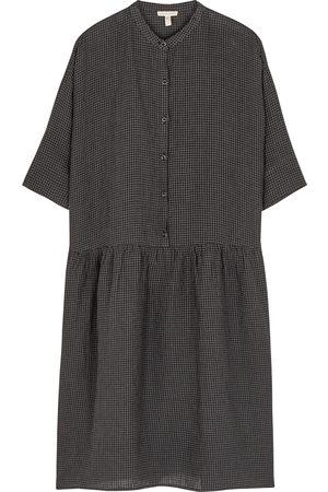 Eileen Fisher Women Dresses - Grey checked linen dress