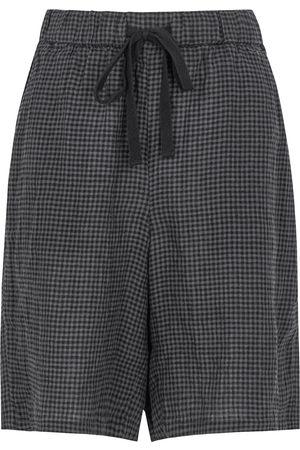 Eileen Fisher Women Shorts - Grey checked linen shorts