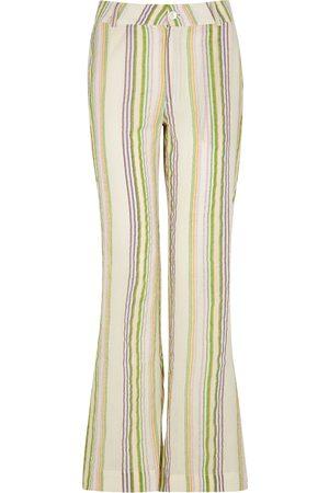Gimaguas Women Wide Leg Pants - San striped flared cotton trousers
