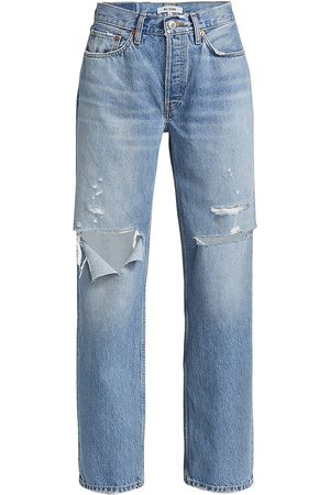 RE/DONE Women's 90s Comfy High-Rise Jeans - Sunfaded Destroy - Size 27