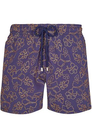 Vilebrequin Men's Gilb Tropical Floral-Embroidered Swim Trunks - - Size Large