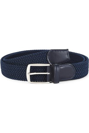 Saks Fifth Avenue Men's COLLECTION Solid Woven Belt - Navy - Size 32