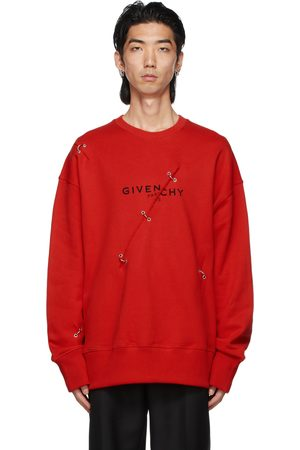 Givenchy Red Oversized Metal Details Sweatshirt