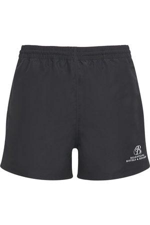 Balenciaga Logo Embroidery Nylon Swim Shorts
