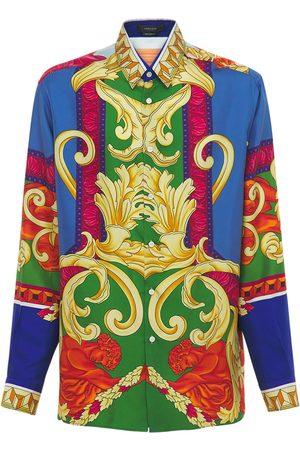VERSACE Men Shirts - Medusa Renaissance Print Silk Shirt