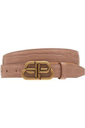 Balenciaga Women Belts - 3cm Bb Croc Embossed Leather Belt