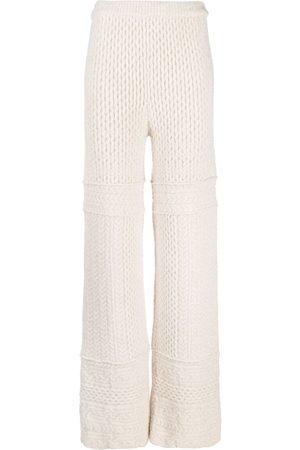 Nanushka Fina cable-knit trousers - Neutrals