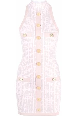 Balmain Women Party Dresses - Monogram glitter buttoned mini dress