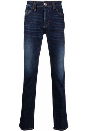 Philipp Plein Men Slim - Embroidered-skull straight-cut jeans