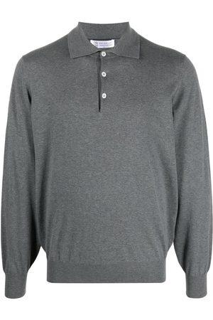 Brunello Cucinelli Long-sleeved polo shirt - Grey