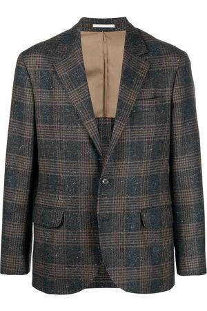 Brunello Cucinelli Checked single-breasted blazer - Grey