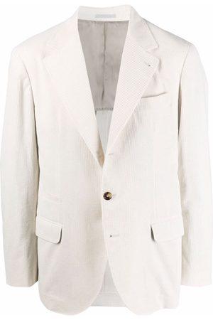 Brunello Cucinelli Single-breasted cotton blazer - Neutrals