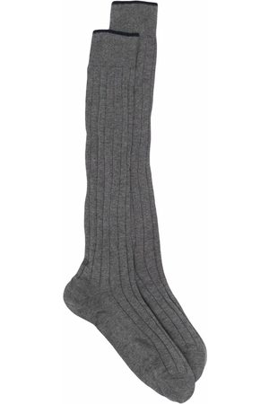 Brunello Cucinelli Two-tone knitted socks - Grey