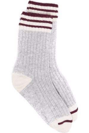 Brunello Cucinelli Stripe detailing ribbed socks - Grey