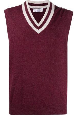 Brunello Cucinelli Stripe-trimmed cashmere vest