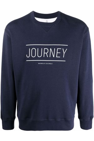 Brunello Cucinelli Men Sweatshirts - Slogan crew-neck sweatshirt