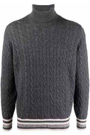 Brunello Cucinelli Cable-knit roll neck jumper - Grey