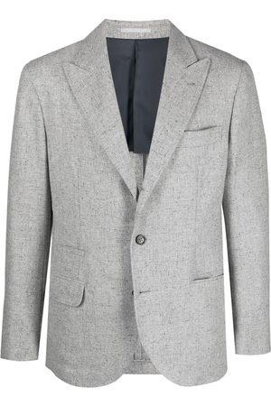 Brunello Cucinelli Men Blazers - Peak-lapel single-breasted blazer - Grey