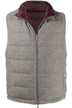 Brunello Cucinelli Reversible checked padded gilet - Grey