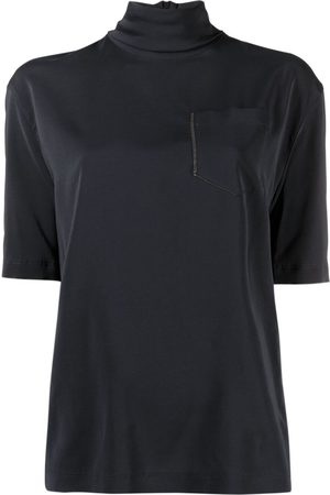 Brunello Cucinelli High-neck satin blouse
