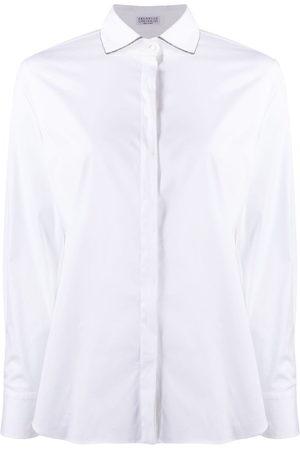 Brunello Cucinelli Women Long sleeves - Monili chain-embellished long-sleeved shirt