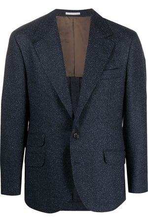 Brunello Cucinelli Men Blazers - Checked single-breasted blazer