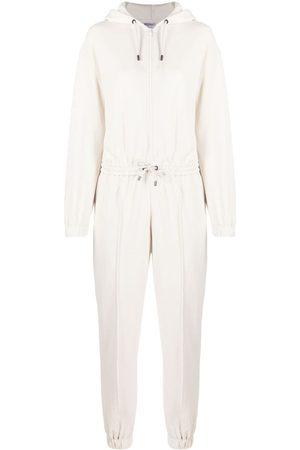 Brunello Cucinelli Tapered-leg cotton jumpsuit - Neutrals