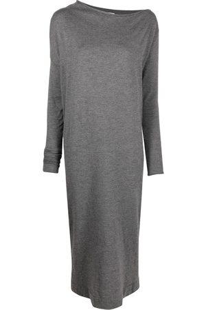 Brunello Cucinelli Asymmetric-neck knitted dress - Grey