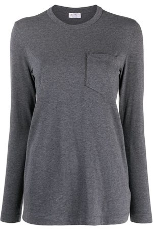 Brunello Cucinelli Women Long Sleeve - Monili pocket-trim long-sleeved T-shirt - Grey