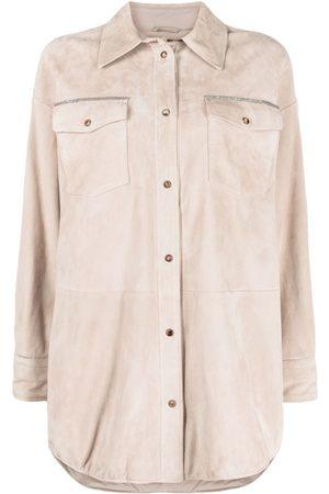Brunello Cucinelli Monili-trim suede shirt coat - Neutrals