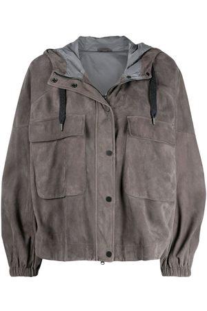 Brunello Cucinelli Hooded suede zip-up jacket - Grey