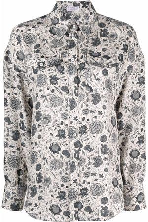 Brunello Cucinelli Floral-print long-sleeve shirt - Neutrals
