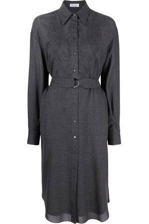 Brunello Cucinelli Bead-detail floral-embroidery shirt dress - Grey