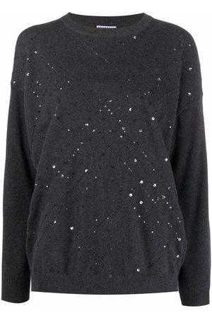 Brunello Cucinelli Women Long sleeves - Sequin-embellished long-sleeve jumper - Grey