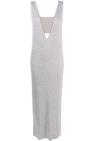 Brunello Cucinelli Sleeveless panelled cashmere maxi dress - Grey