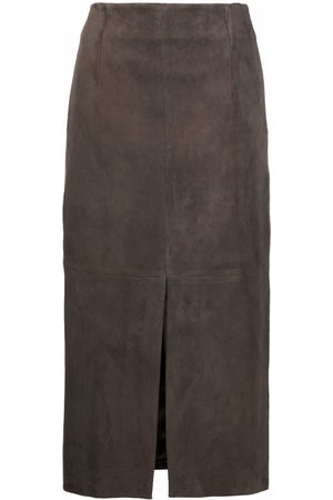 Brunello Cucinelli Women Leather Skirts - Panelled leather skirt - Grey