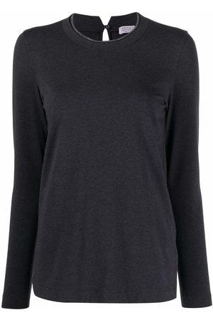 Brunello Cucinelli Long-sleeved cotton T-shirt - Grey