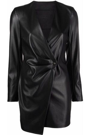 Patrizia Pepe Leather-effect asymmetric mini dress