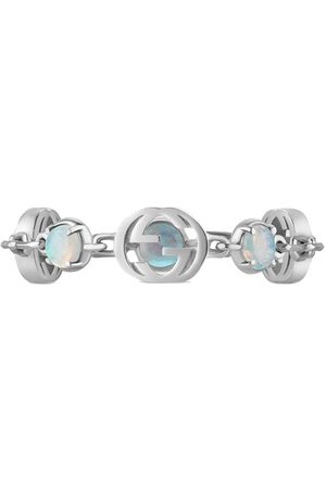 Gucci 18kt white gold Interlocking G and opal ring