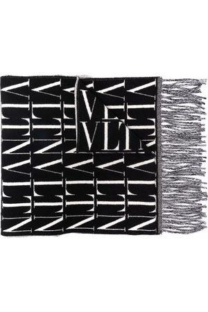 VALENTINO VLTN logo fringed scarf