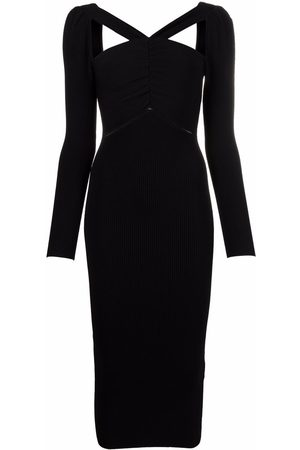 Self-Portrait Cut-out detail midi fitted dress