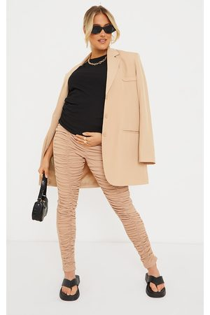 PRETTYLITTLETHING Women Sweats - Maternity Stone Ribbed Ruched Over Bump Leggings