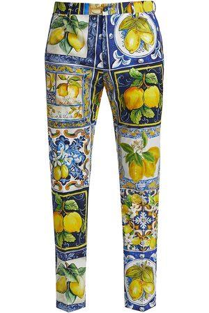Dolce & Gabbana Men's Lemon Majolica Printed Stretch-Cotton Trousers - Size 40