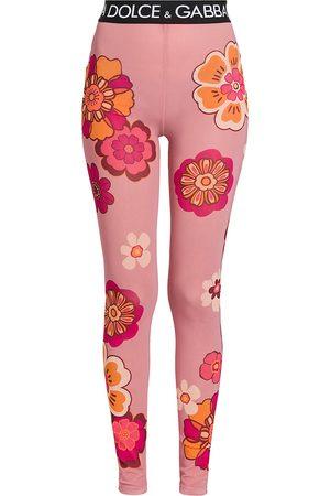 Dolce & Gabbana Women's Floral Logo Band Footless Tights - Maxi Fiorifdo Rosa - Size 0