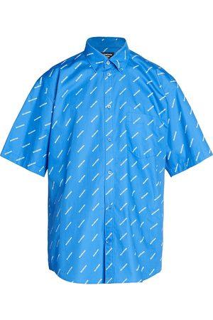 Balenciaga Men's Repeat Logo Short-Sleeve Shirt - Screen - Size 15.5