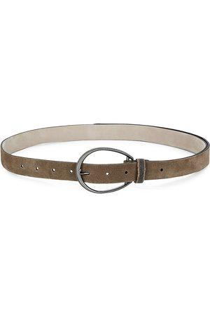 Brunello Cucinelli Women's Suede Round Buckle Belt - Taupe - Size Medium