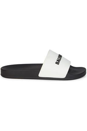Balenciaga Men's Logo Embossed Pool Slides - - Size 14 Sandals