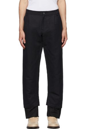 ANN DEMEULEMEESTER Men Pants - Cotton & Linen Double Hem Trousers